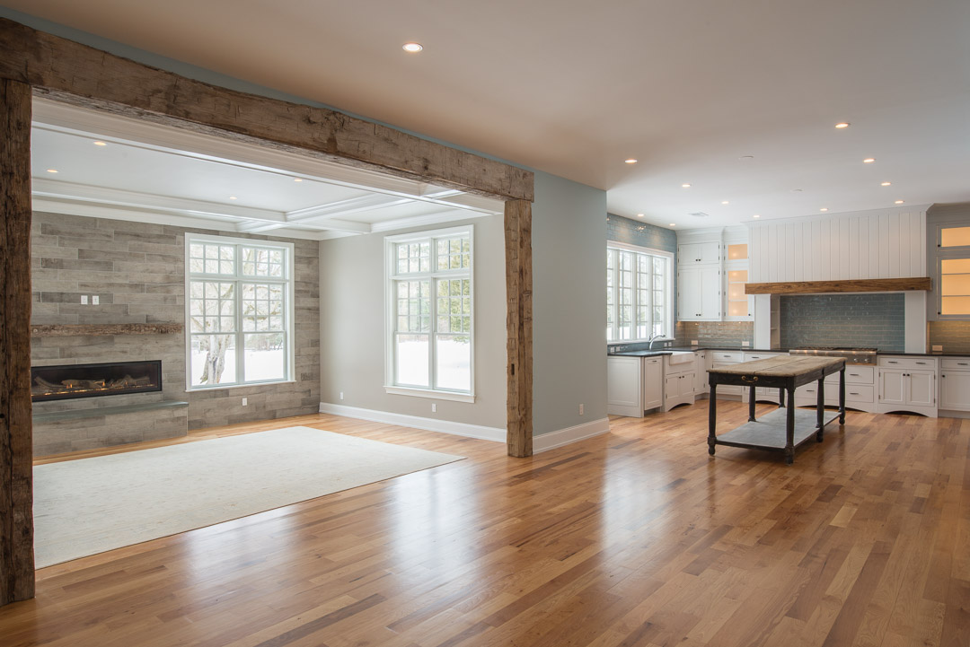 Berwyn Nantucket custom home great room and kitchen - american farmhouse interior design