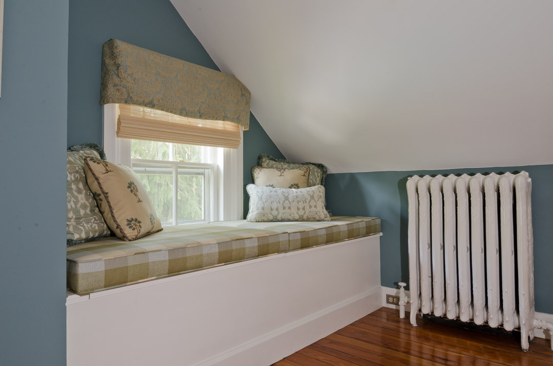 Bryn Mawr bedroom renovation custom window seat with pillows