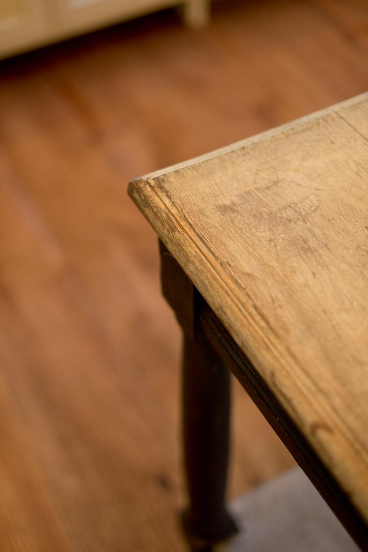 New american farmhouse distressed wood kitchen island detail