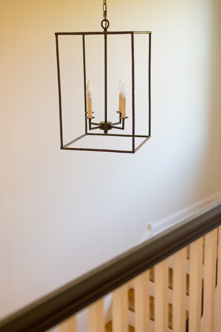New american farmhouse stairwell candle style lighting selection