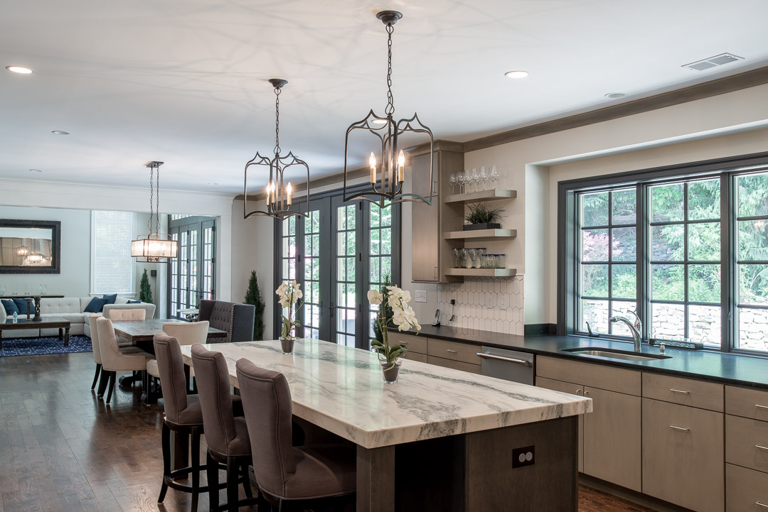 Newtown Square custom home kitchen and great room