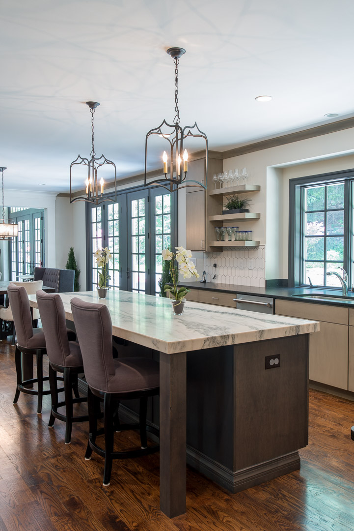 Winslow Interiors Interior Design -kitchen with view of dual french entry doors