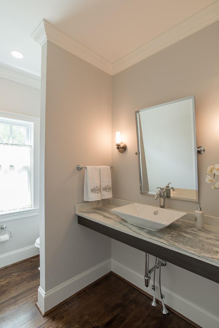 Winslow Interiors Interior Design -bathroom vanity with vessel sink and mirror
