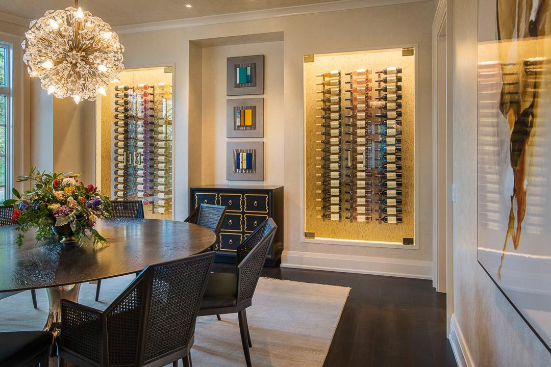 Philadelphia Design Home 2017 dining room with custom wine racks