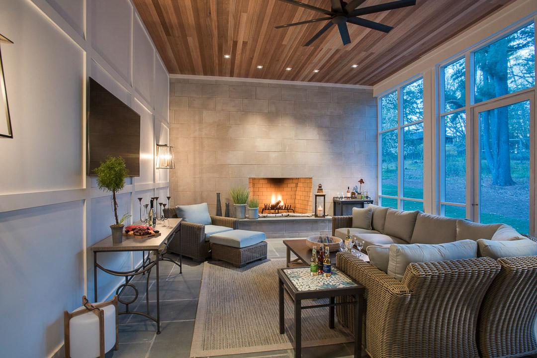 Sunroom with custom fireplace