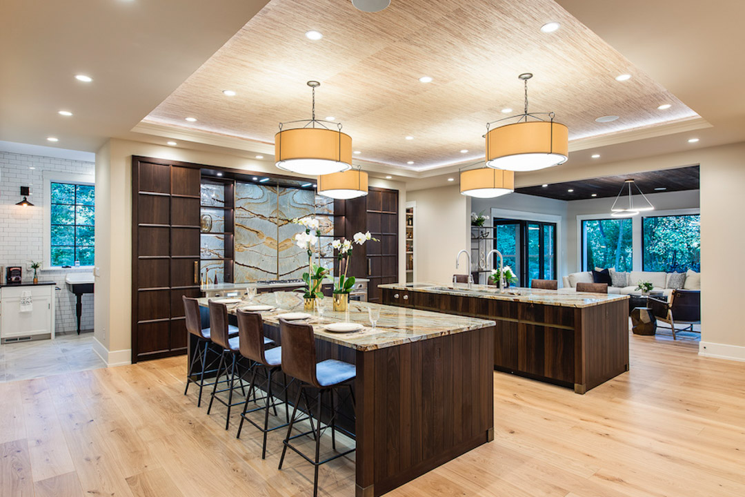 Philadelphia Magazine Design Home 2019 kitchen with dual marble islands