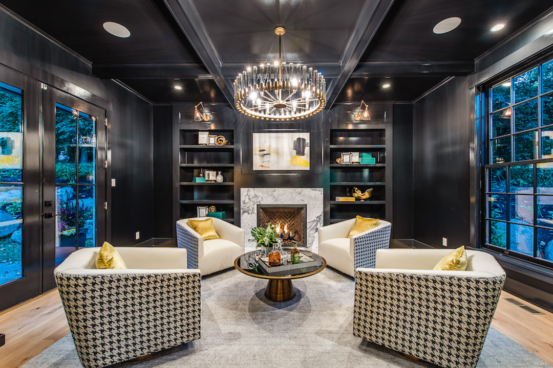 Philadelphia Magazine Design Home 2019 Interior Design - Study with fireplace and built-in bookcases