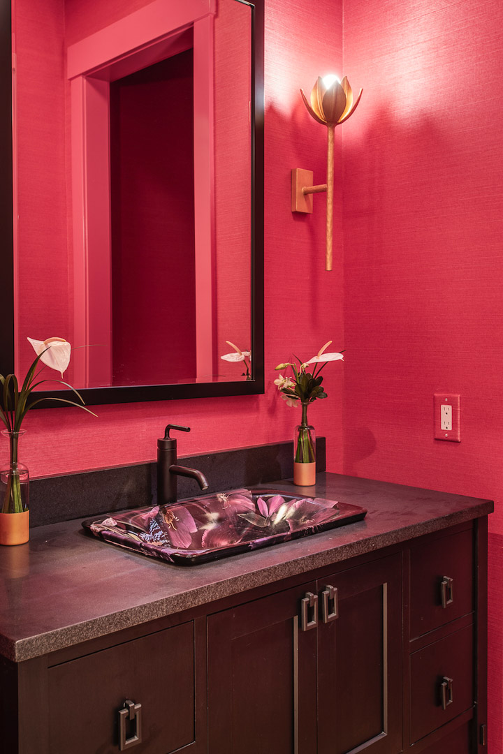 Philadelphia Magazine Design Home 2019 bathroom with custom vanity and floral pattern sink